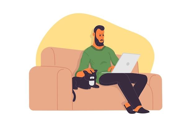 Lavoro a casa, webinar, illustrazione vettoriale piatta per riunioni online. videoconferenza, telelavoro, distanziamento sociale, discussioni di lavoro, studio. uomo con laptop seduto sul divano con gatto.