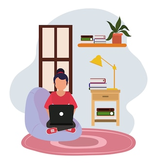 Lavorando a casa, donna sulla sedia con lampada da tavolo del computer e libri, persone a casa in quarantena illustrazione