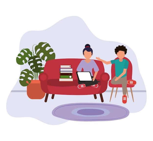 Lavorando a casa, donna che utilizza laptop e uomo seduto su una sedia con libri, persone a casa in quarantena illustrazione