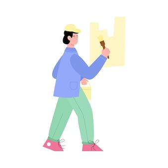 L'imbianchino di lavoro dipinge un'illustrazione piana di vettore del fumetto della parete isolata
