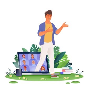 Lavorare e imparare ovunque illustrazione del concetto con un uomo che esce da un computer portatile