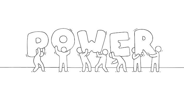 Piccole persone che lavorano con una grande parola potere.