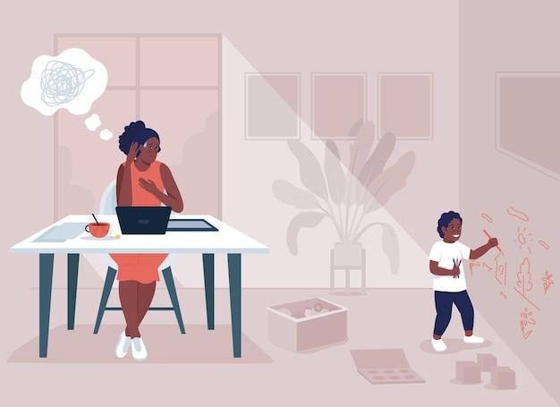 Illustrazione vettoriale di lavoro madre stress colore piatto. equilibrio tra lavoro e vita privata. problema con il lavoro a distanza. sfide mamma single. personaggi dei cartoni animati 2d della famiglia con interni di casa sullo sfondo