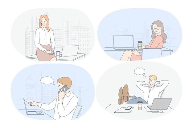 Lavorare in ufficio, laptop, interni moderni dell'azienda, avvio, concetto di comunicazione online.