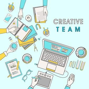 Luogo di lavoro del team creativo nel design a linea piatta