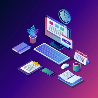 Processo lavorativo. posto di lavoro isometrico dell'ufficio con computer, laptop, pc, telefono cellulare, caffè, blocco note, calendario, documento.
