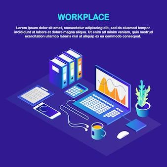 Processo lavorativo. posto di lavoro isometrico dell'ufficio con computer, laptop, telefono, caffè, blocco note, documento