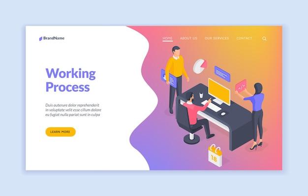 Modello di banner del sito web di processo di lavoro