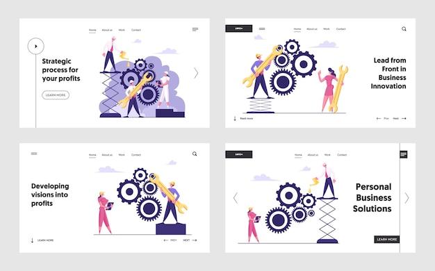 Set di pagine di destinazione del sito web di cooperazione per il processo di routine e lavoro di squadra