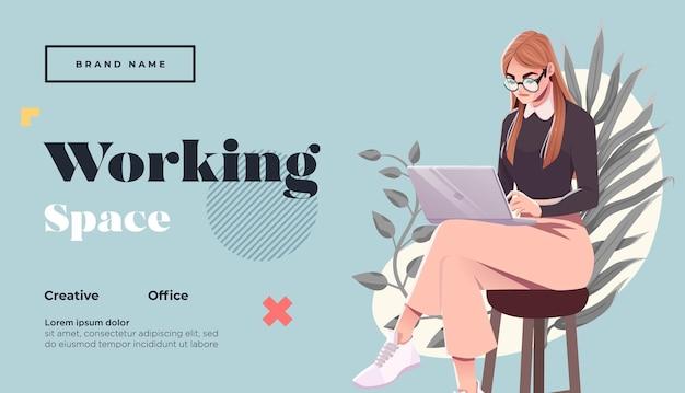Spazio di lavoro modello di pagina di destinazione giovane libera professionista con laptopn illustrazione vettoriale