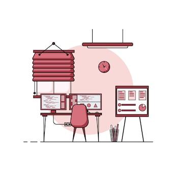 Design piatto tavolo da lavoro, concetto di interno scrivania con mobili. stanza di lavoro con computer, desktop, tavolo, sedia, libro e attrezzatura fissa. lavoro da casa del fumetto.