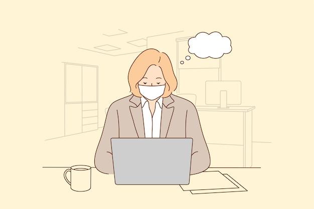 Lavorare e indossare una maschera medica. impiegato di lavoratore di ufficio donna in maschera facciale che lavora da solo.