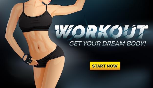 Banner di allenamento con corpo di donna sottile in biancheria intima nera, top sportivo e pantaloncini