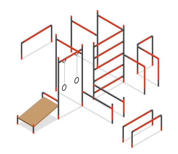 Progettazione isometrica dell'illustrazione degli elementi dell'area della via di allenamento
