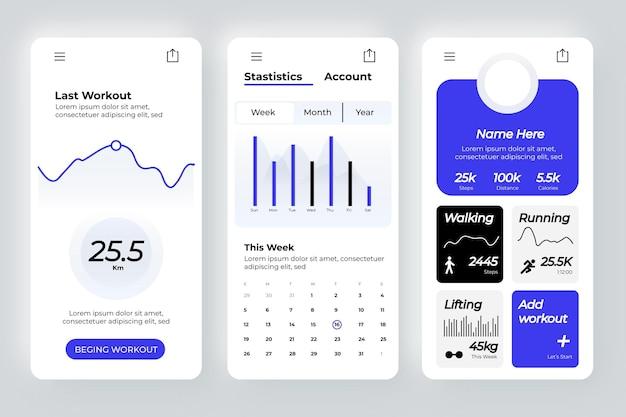 Schermate dell'app tracker di allenamento Vettore Premium