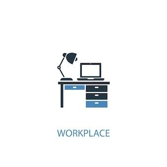 Concetto di lavoro 2 icona colorata. illustrazione semplice dell'elemento blu. disegno di simbolo del concetto di posto di lavoro. può essere utilizzato per ui/ux mobile e web
