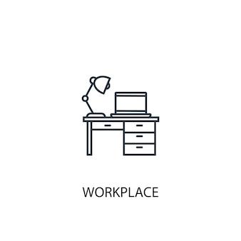 Icona della linea di concetto sul posto di lavoro. illustrazione semplice dell'elemento. disegno di simbolo di struttura del concetto di posto di lavoro. può essere utilizzato per ui/ux mobile e web