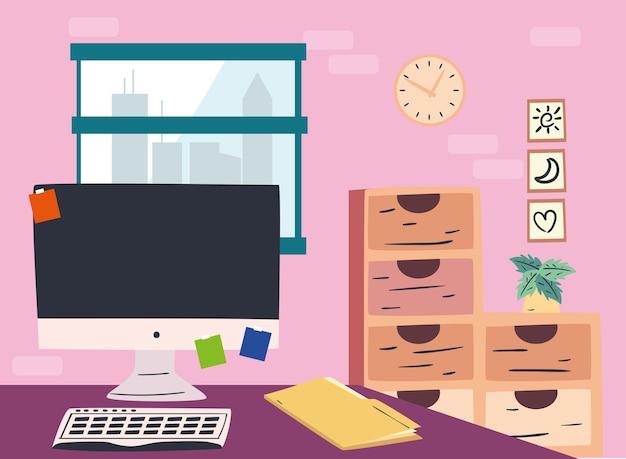 Scrivania sul posto di lavoro con file di computer e mobili di design, ufficio di lavoro