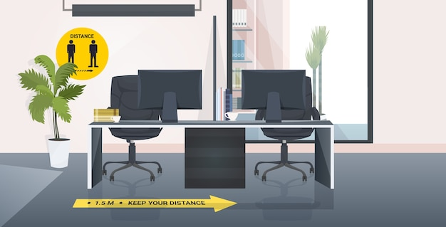 Scrivania da lavoro con cartelli per allontanamento sociale adesivi gialli misure di protezione epidemia di coronavirus interno dell'ufficio orizzontale