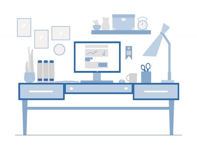 Posto di lavoro in stile piatto. illustrazione del luogo di lavoro creativo moderno