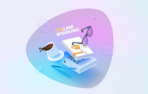 Posto di lavoro elementi volanti libri penna occhiali tazza di caffè lavora online Vettore Premium