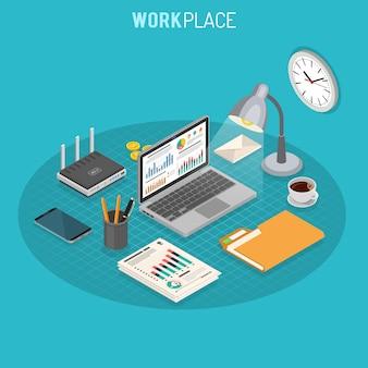 Concetto isometrico sul posto di lavoro