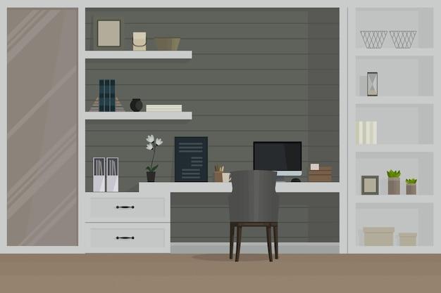 Stanza del posto di lavoro, interni moderni, armadio.