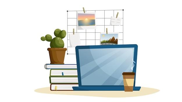 Posto di lavoro studio studio tempo ritorno a scuola materie scolastiche libri di testo cactus in un vaso di fiori ill