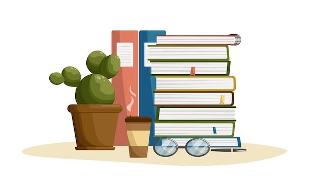 Posto di lavoro studio tempo di studio ritorno a scuola materie scolastiche libri di testo cactus in un vaso di fiori