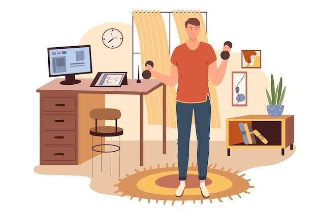 Concetto di web sul posto di lavoro. uomo che si esercita con i manubri in ufficio. libero professionista o lavoratore a distanza che allena sport in camera con arredamento