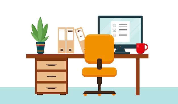 Posto di lavoro con scrivania e computer per home office, freelance o lavoro online