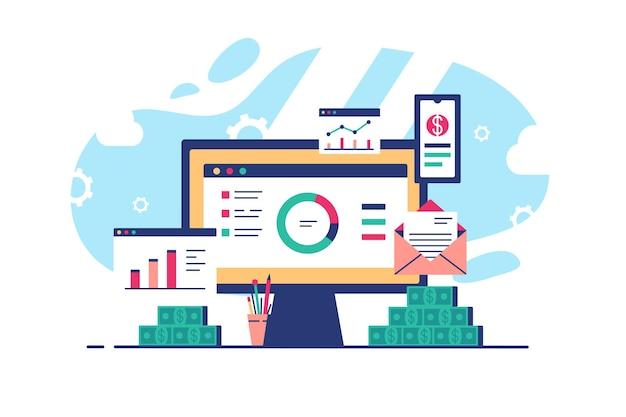 Posto di lavoro con laptop e siti web aperti