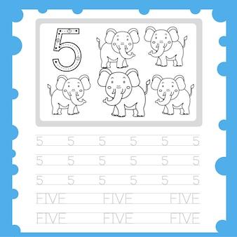 Foglio di lavoro istruzione numero pratica di scrittura e colorazione per il bambino cinque
