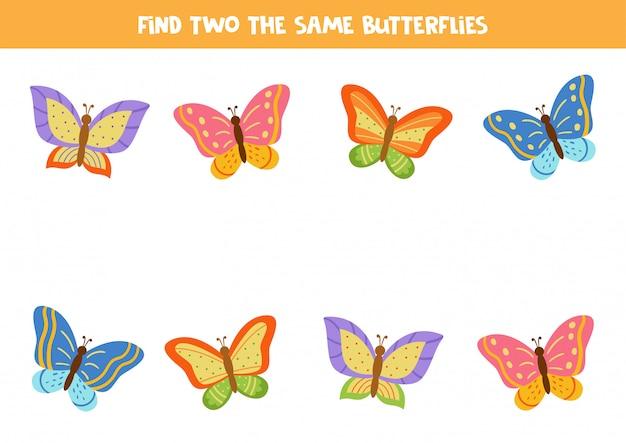 Foglio di lavoro per bambini. trova due farfalle identiche.