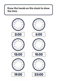 Foglio di lavoro per bambini in età prescolare e scolare. disegnare le mani sul quadrante dell'orologio.