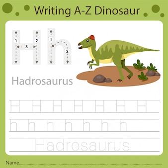 Foglio di lavoro per bambini, scrittura az dinosauro h