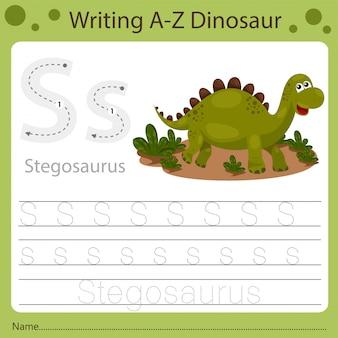 Foglio di lavoro per bambini, scrittura az dinosauro s