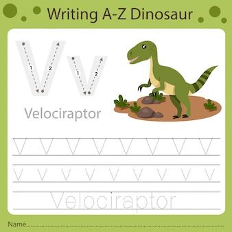 Foglio di lavoro per bambini, scrittura az dinosauro v