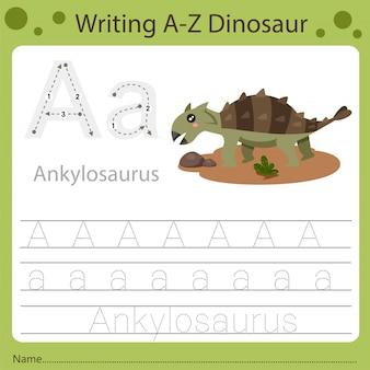 Foglio di lavoro per bambini, scrivendo dinosauro az. a