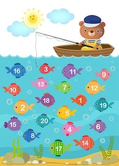 Foglio di lavoro per i bambini dell'asilo per imparare a contare il numero con un simpatico orso