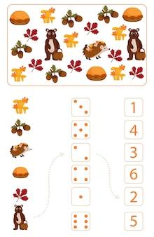 Foglio di lavoro per l'insegnamento della matematica e della matematica sul tema dell'autunno. per bambini in età prescolare e bambini dell'asilo che studiano i numeri e il conteggio. illustrazione vettoriale