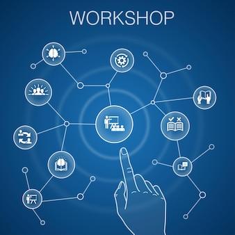 Concetto di officina, sfondo blu. motivazione, conoscenza, intelligenza, icone di pratica