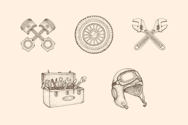 Illustrazione d'epoca di officina con stile disegnato a mano