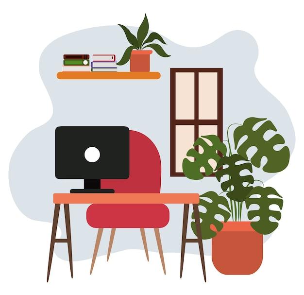 Illustrazione di scaffale e libri della pianta in vaso della sedia del computer dello scrittorio dell'area di lavoro