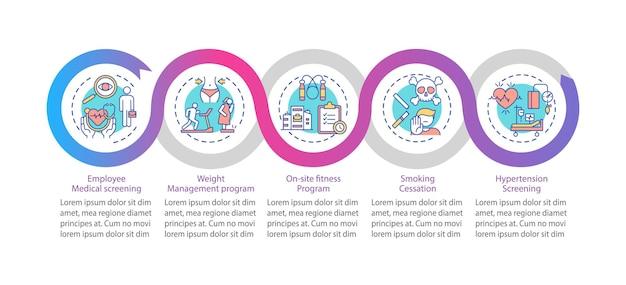Modello di infografica programmi di benessere dell'area di lavoro. controllo del peso, elementi di design di presentazione sportiva. visualizzazione dei dati con passaggi. elaborare il grafico della sequenza temporale. layout del flusso di lavoro con icone lineari