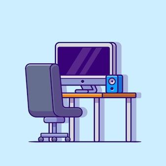 Area di lavoro con l'icona di vettore del fumetto del computer. concetto dell'icona dell'oggetto di tecnologia isolato vettore premium. stile cartone animato piatto