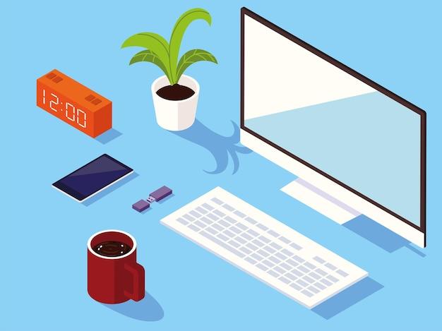 Area di lavoro con computer e tazza di caffè. stile isometrico