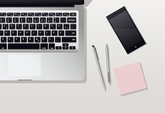 Una postazione di lavoro con un computer portatile aperto e un telefono su un tavolo bianco. penna e matita con un pezzo di carta. illustrazione