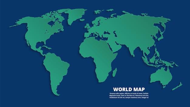 Mappa del mondo 3d. mappa di terra verde su sfondo blu. modello di vettore per infografica aziendale, concetto di eco