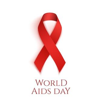 Sfondo della giornata mondiale contro l'aids. nastro rosso isolato su bianco.